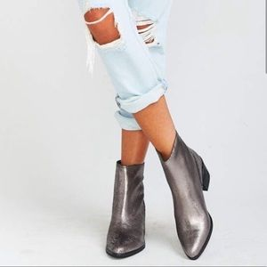 DOLCE VITA Cassius Silver Leather Ankle Booties